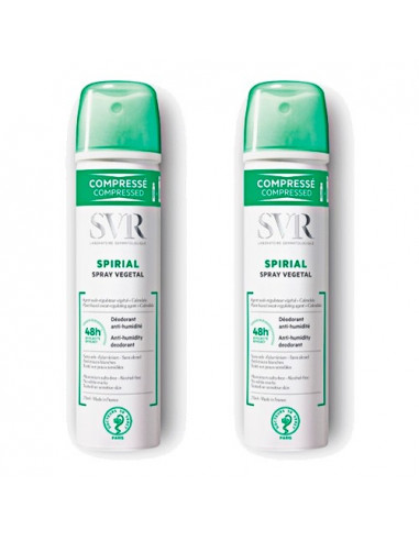 SVR Spirial Spray Végétal Déodorant Anti-Humidité 48H. Lot de 2x75ml