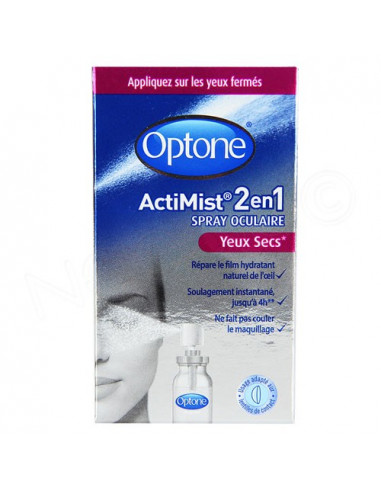 Optone ActiMist 2en1 Spray Oculaire Yeux Secs. 10ml