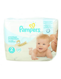 Pampers Premium Protection New Baby Sensitive 3-6kg Taille 2. x27 couches