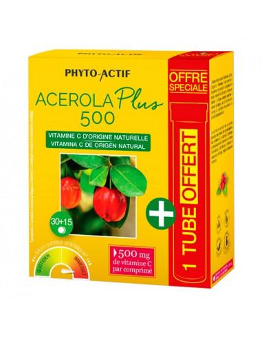 Phyto-Actif Acerola Plus 500 Vitamine C. 30 comprimés + 15 comprimés offerts - Offre spéciale