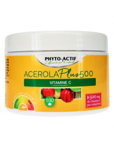 Phyto-Actif Acerola Plus 500 Vitamine C. 100 comprimés - Vitamine C naturelle