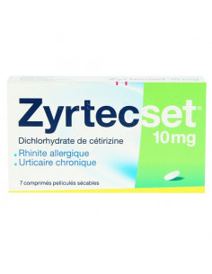 Zyrtecset Cétrizine 10mg. 7 comprimés pelliculés sécables