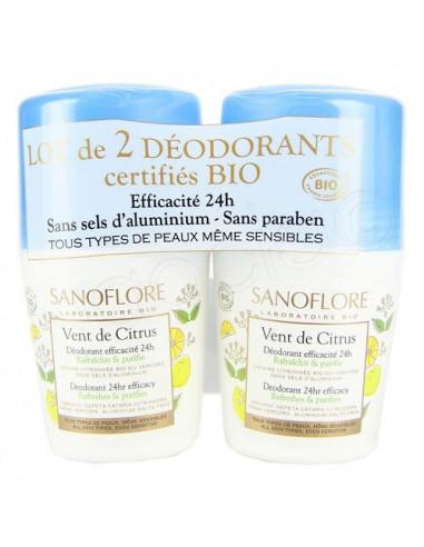Sanoflore Vent de Citrus Déodorant Efficacité 24h. Lot 2x50ml