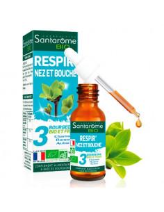 Santarome Bio Respir' Nez et Bouche. 30ml - Bourgeons de charme de ronce et d'aulne - BIO