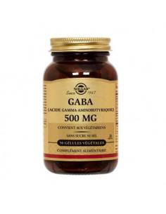 Solgar Gaba (Acide Gamma-Aminobutyrique) 500mg sans sucre ni sel. 50 gélules végétales