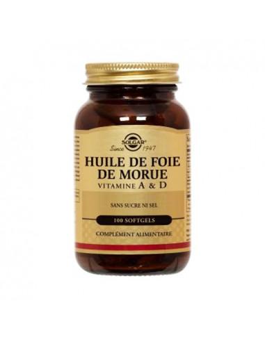 Solgar Huile De Foie De Morue Vitamine A & D sans sucre ni sel. 100 softgels