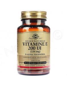 Solgar Vitamine E 200 UI 134mg. 50 capsules softgel - radicaux libres d-alpha-tocophérol