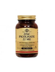 Solgar Zinc Picolinate 22mg comprimés sans sucre ni sel. 100 tablets
