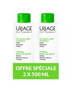 Uriage Eau Micellaire Thermale peaux mixtes à grasses. Lot de 2x500ml - Offre Spéciale