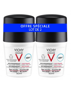 Vichy Homme Déodorant Anti-transpirant Anti-traces Chemises. Lot 2x50ml