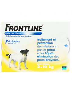 Frontline Antiparasitaire Spot on Chiens et Chats. Pipettes Chiens 2-10kg 4 pipettes 0.67ml