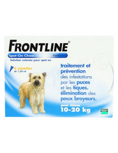 Frontline Antiparasitaire Spot on Chiens et Chats. Pipettes Chiens 10-20kg 6 pipettes 1.34ml