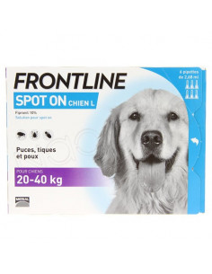 Frontline Antiparasitaire Spot on Chiens et Chats. Pipettes Chiens 20-40kg 6 pipettes 2.68ml