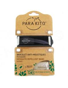 Para'Kito Bracelet Anti-moustiques rechargeable Nouvelle Formule et 2 plaquettes Noir