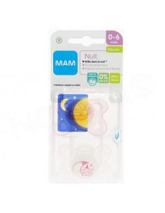 MAM Nuit Sucette 0-6 mois. x2 sucettes Blanc / Rose Transparent