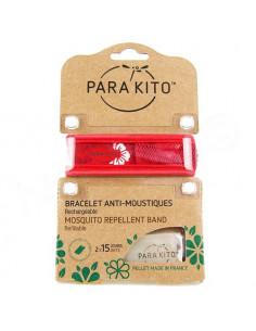 Para'Kito Bracelet Anti-moustiques rechargeable Nouvelle Formule et 2 plaquettes Jungle rouge