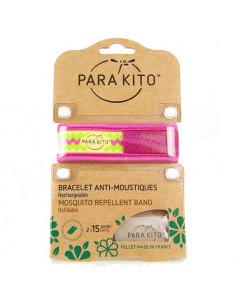 Para'Kito Bracelet Anti-moustiques rechargeable Nouvelle Formule et 2 plaquettes Ethnic rose