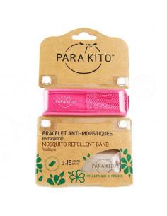 Para'Kito Bracelet Anti-moustiques rechargeable Nouvelle Formule et 2 plaquettes rose
