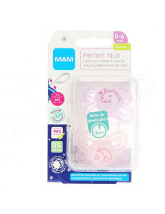 MAM Perfect Nuit Sucette 0-6 mois. x2 sucettes Rose et violet