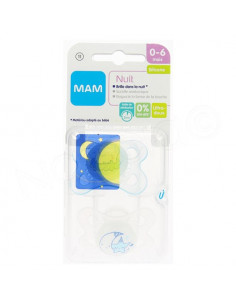 MAM Nuit Sucette 0-6 mois. x2 sucettes Blanc / Bleu Transparent