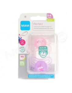 MAM Perfect Sucette 0-6 mois. x2 Rose et violet