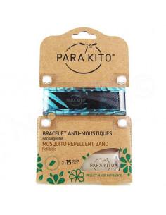 Para'Kito Bracelet Anti-moustiques rechargeable Nouvelle Formule et 2 plaquettes Jungle noir-bleu