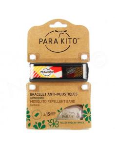 Para'Kito Bracelet Anti-moustiques rechargeable Nouvelle Formule et 2 plaquettes Ethnic rouge-orange