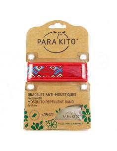 Para'Kito Bracelet Anti-moustiques rechargeable Nouvelle Formule et 2 plaquettes Ethnic rouge
