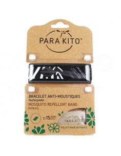 Para'Kito Bracelet Anti-moustiques rechargeable Nouvelle Formule et 2 plaquettes Ethnic noir