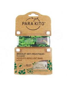 Para'Kito Bracelet Anti-moustiques rechargeable Nouvelle Formule et 2 plaquettes Jungle vert