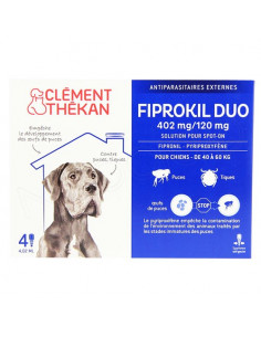 Clément Thékan Fiprokil Duo Spot on Antiparasitaires Chat et chien. Pipettes Chien 40-60kg 4 pipettes 4.02ml