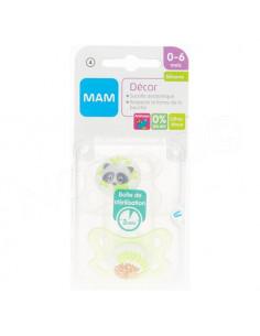 MAM Décor Sucette Anatomique Silicone 0-6mois. x2 sucettes Blanc / Vert Transparent