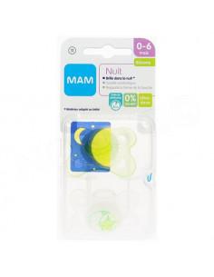 MAM Nuit Sucette 0-6 mois. x2 sucettes Blanc / Vert Transparent