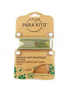 Para'Kito Bracelet Anti-moustiques rechargeable Nouvelle Formule et 2 plaquettes Ethnic vert kaki