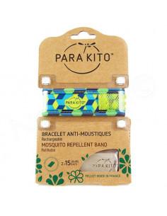 Para'Kito Bracelet Anti-moustiques rechargeable Nouvelle Formule et 2 plaquettes Ethnic bleu-vert
