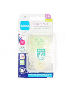 MAM Perfect Nuit Sucette 0-6 mois. x2 sucettes Blanc / Vert Transparent