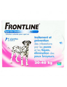 Frontline Antiparasitaire Spot on Chiens et Chats. Pipettes Chiens 20-40kg 4 pipettes 2.68ml