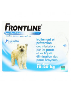 Frontline Antiparasitaire Spot on Chiens et Chats. Pipettes Chien 10-20kg 4 pipettes 1.34ml