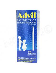 Advil Enfants et nourrissons Suspension buvable boite bleue. inscription jaune