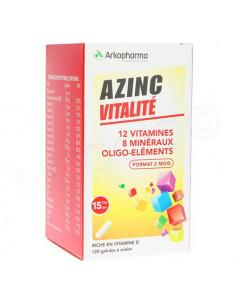 Azinc Forme et Vitalité 12 Vitamines 8 Minéraux Oligo-éléments Boite 120 gélules