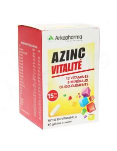 Azinc Forme et Vitalité 12 Vitamines 8 Minéraux Oligo-éléments Boite 60 gélules