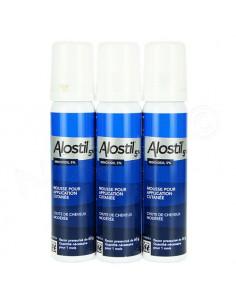 Alostil Minoxidil 5 pour cent Mousse Chute Cheveux Modérée Homme. 3x60g